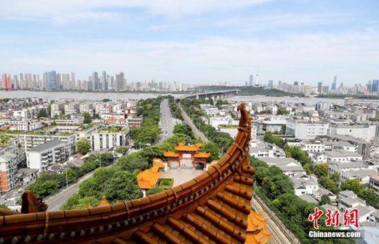 图为8月6日,在黄鹤楼上拍摄的武汉长江大桥。 中新社记者 张畅 摄